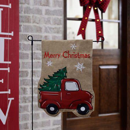 Merry Christmas Truck Flag Set Kirklands Christmas Red Truck Retro Christmas Tree Christmas Truck