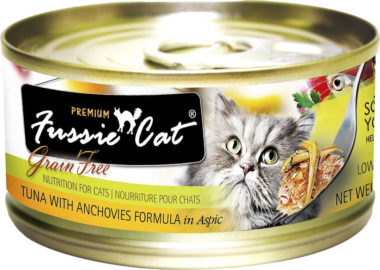 Fussie Cat Premium cat food is made in a state of the are