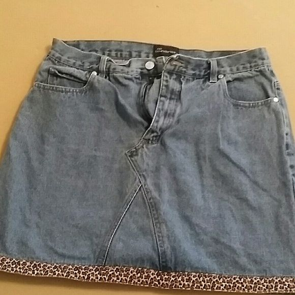 Used Jean Skirt Cute, used JeN skirt with cheetah print on bottom No Boundaries Skirts Mini