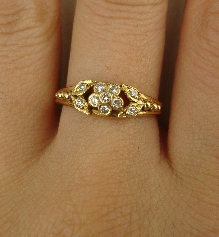 Antique diamond ring art nouveau diamond flower gold