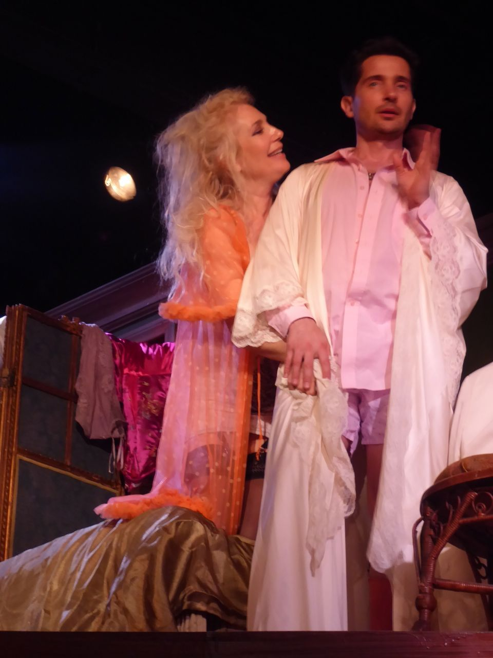 Susan Priver (Myrtle) and Daniel Felix De Weldon (Lot) in a poignant moment from Kingdom of Earth, Odyssey Theater Los Angeles.