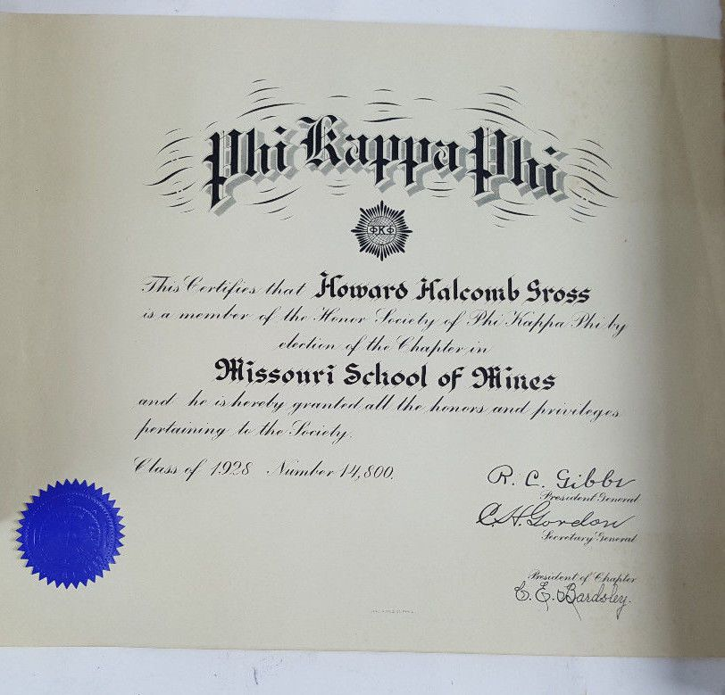 1928 Phi Kappa Phi Missouri School Of Mines Certificate Blue Seal