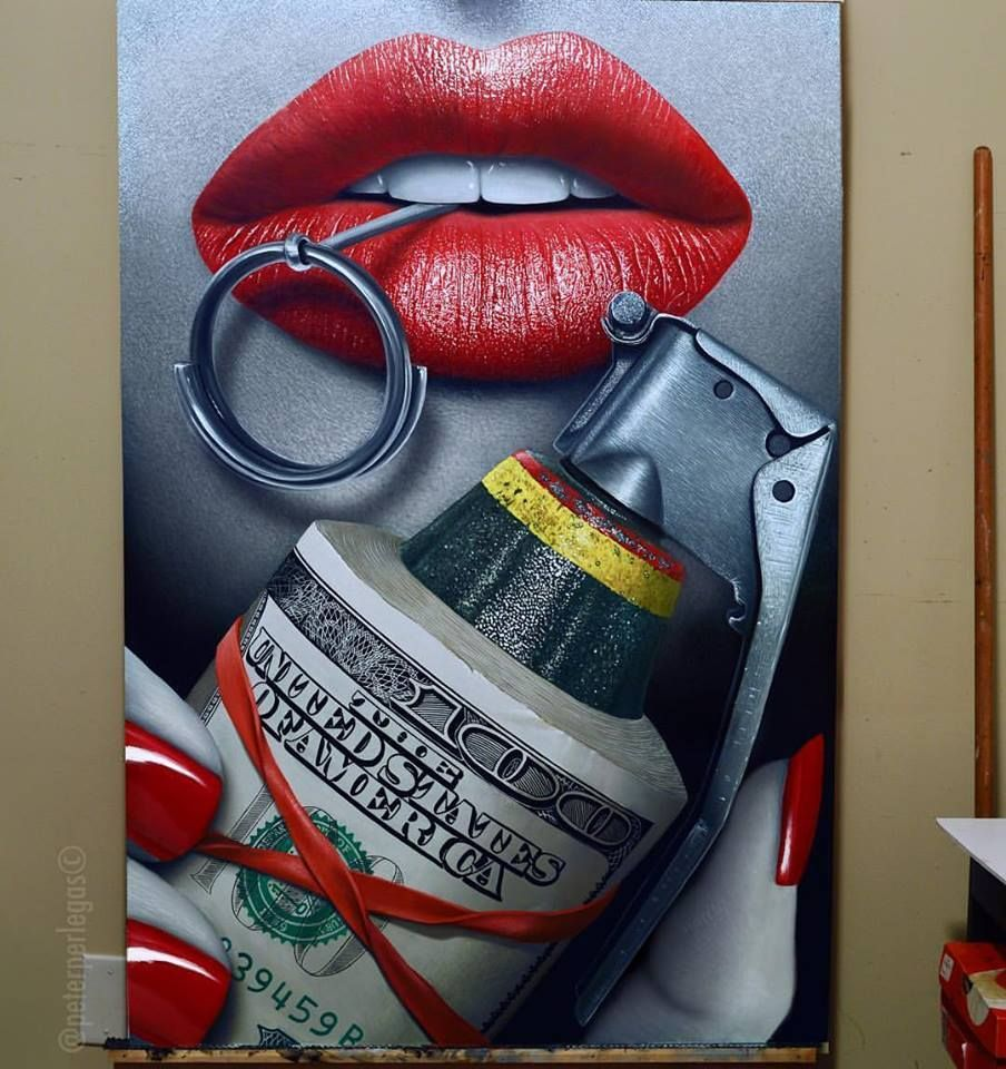 Money To Blow 36 X52 Oil On Canvas Lips Painting Initial