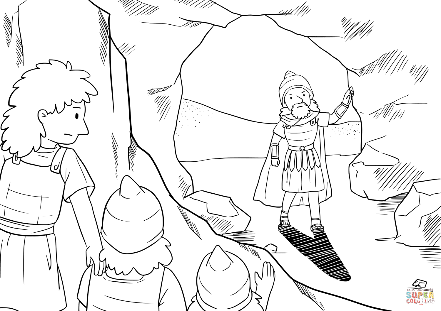 david and his hide far back in the cave coloring page