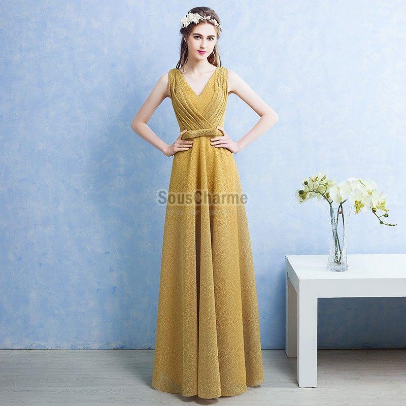 0935c9e9a42 robe femme habillée pour soirée longue en tulle scintillante jaune col V  plissé