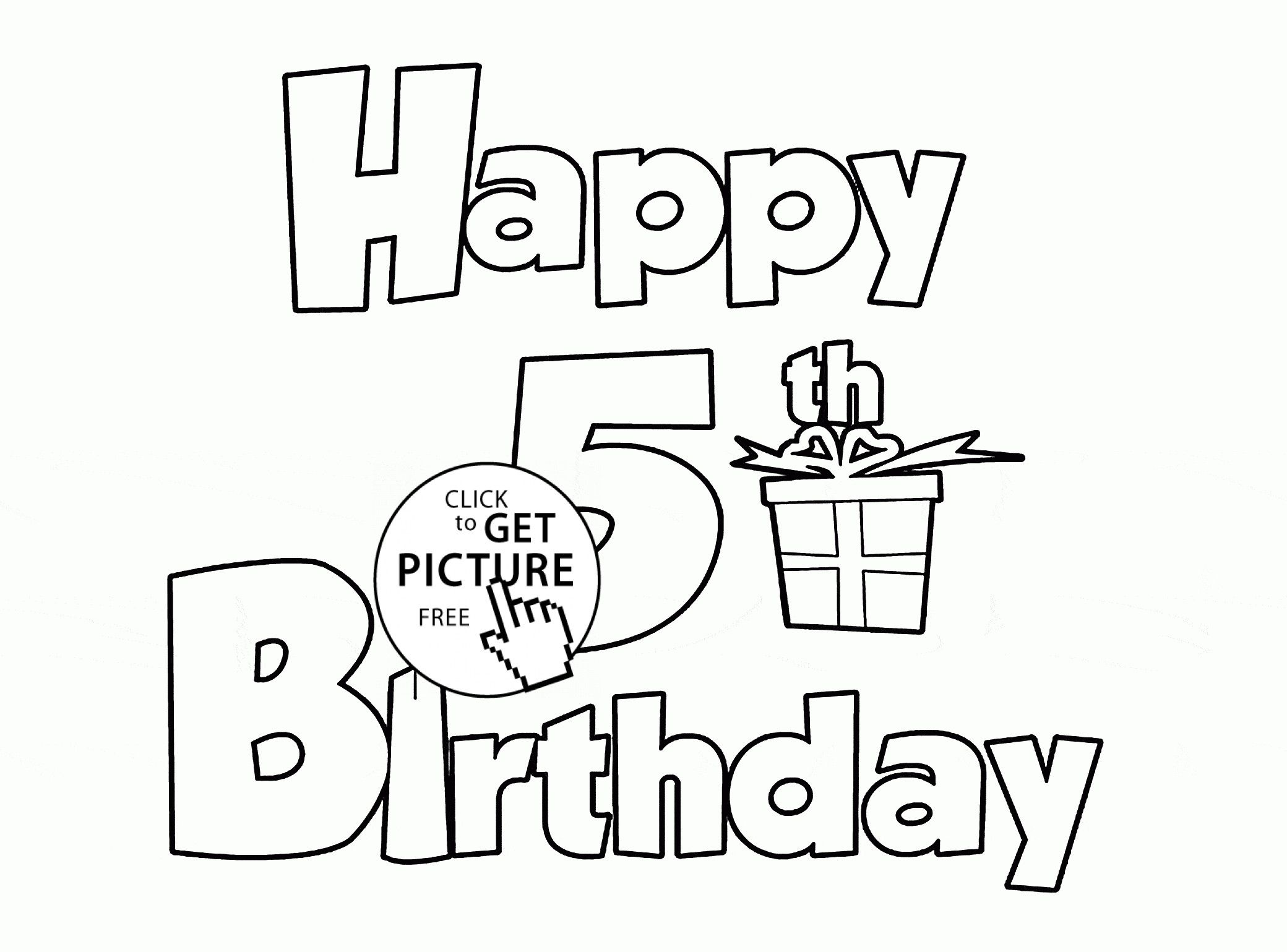 - Happy Birthday Coloring Card Fresh Happy 5th Birthday Letters Card