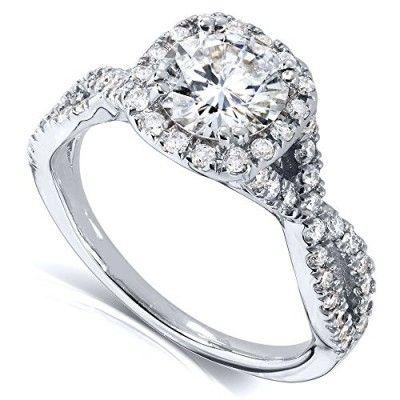 1 1/2ct TW Round Moissanite and Diamond Engagement Ring 14k White Gold