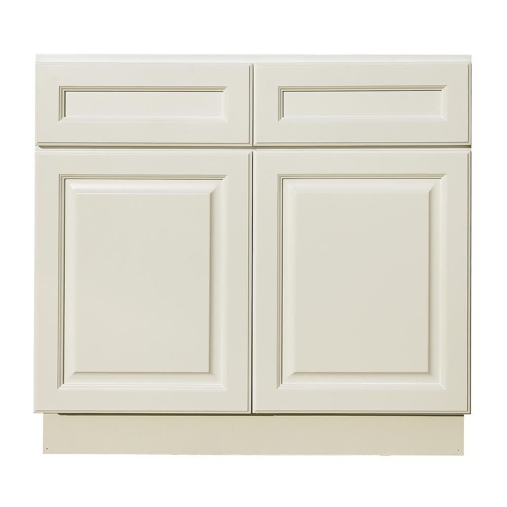 Lifeart Cabinetry La Newport Assembled 33x34 5x24 In Base Cabinet With 2 Door And 2 Drawer In Classic White Base Cabinets Classic White Raised Panel Doors