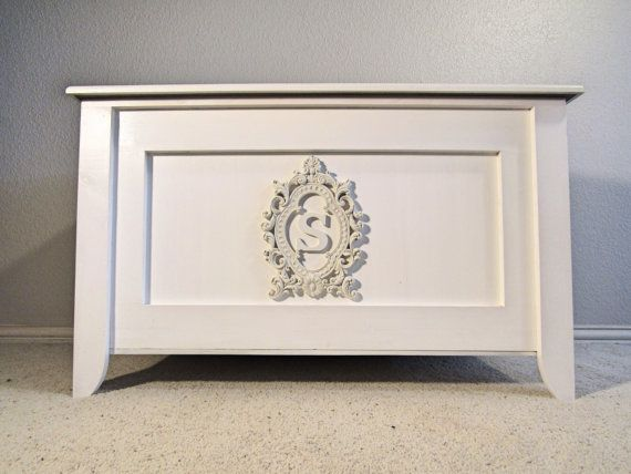 Baby Bedroom In A Box Special: Girls Victorian Toy Box, Monogram Toy Chest, White Storage