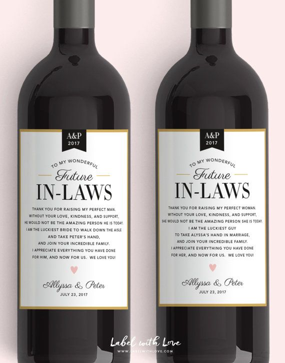 In Law Wine Labels Wedding Thank You Gift Parents Of The Bride And