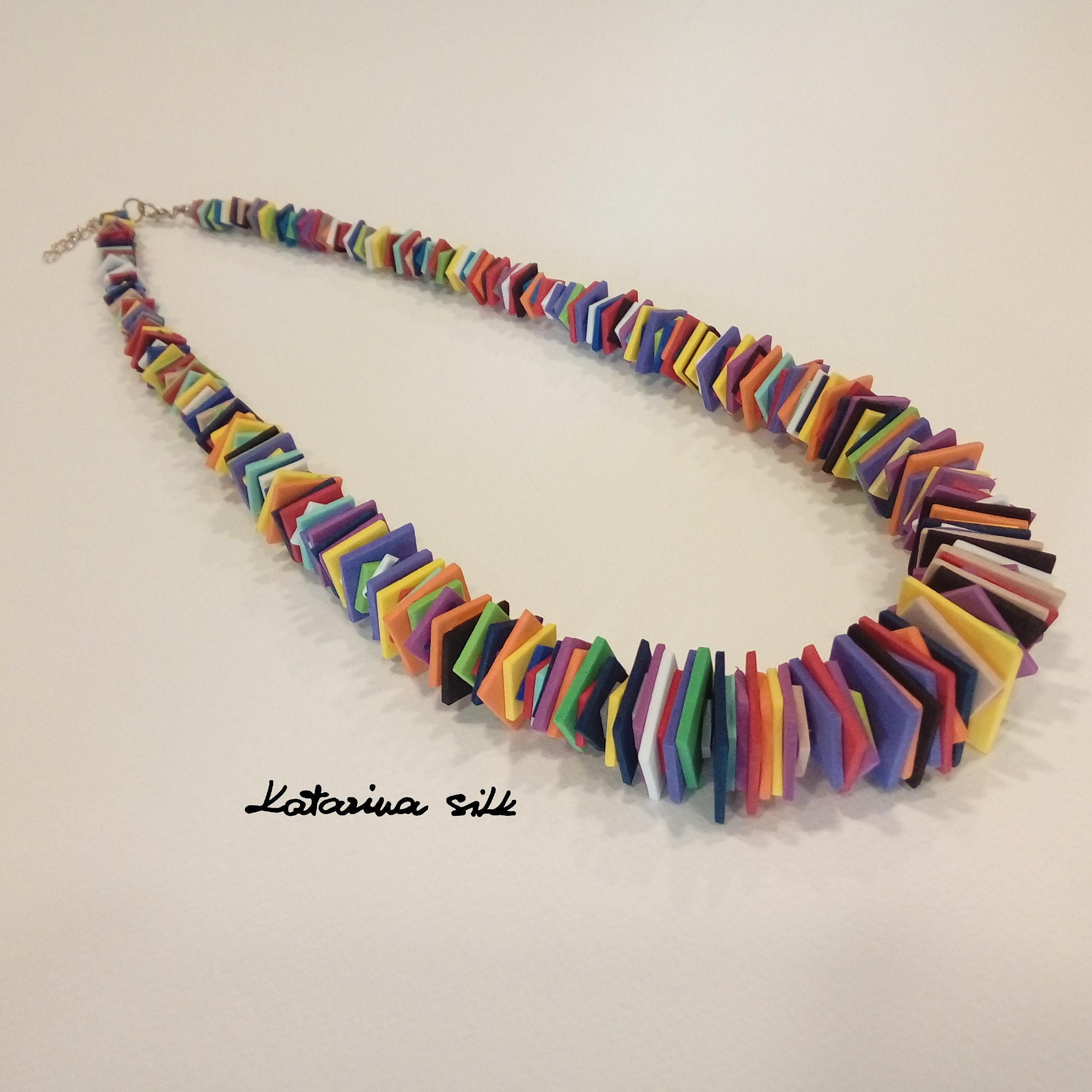 Statement Necklace Colorful Jewelry Star Necklace Chunky necklace Wood necklace Gift for her Unique jewelry Colorful Necklace art