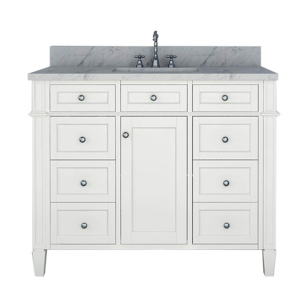 Birmingham 42 In W X 34 In H Bath Vanity In White With Marble