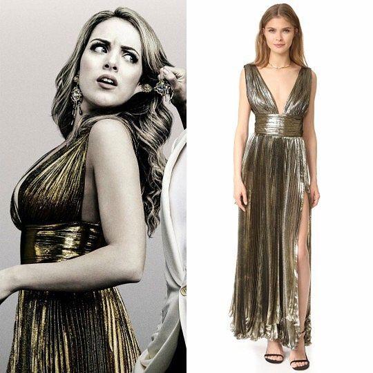 Fallon Carrington Wears This Maria Lucia Hohan Gold Maxi Dress In