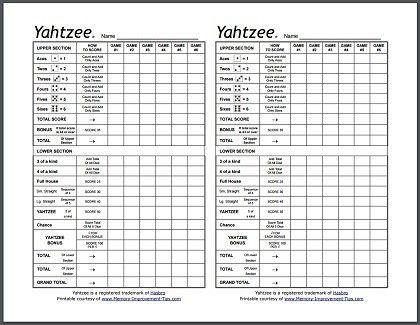 Here are some printable Yahtzee score sheets that you can