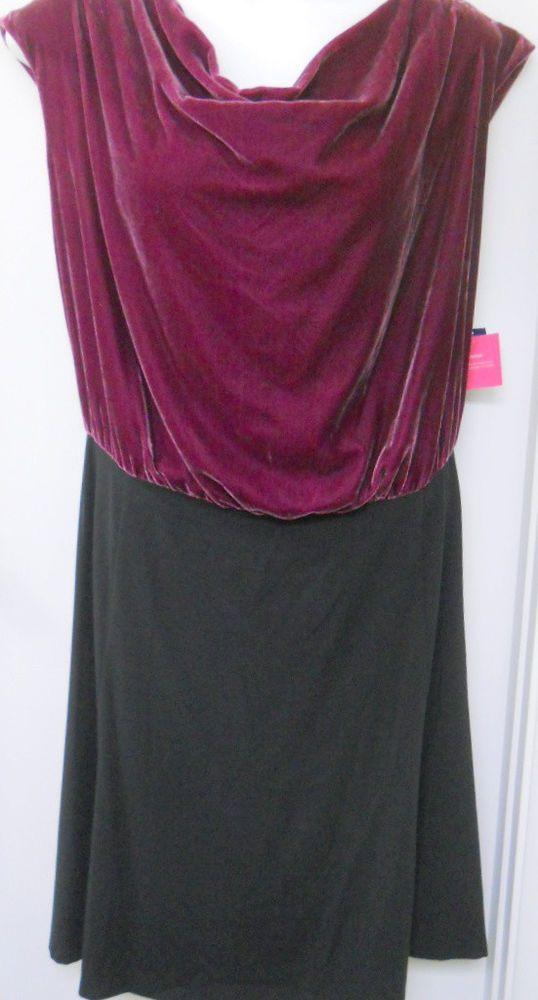 Liz Claiborne Dress New 24w Plus Size Sleeveless Black Purple Velvet