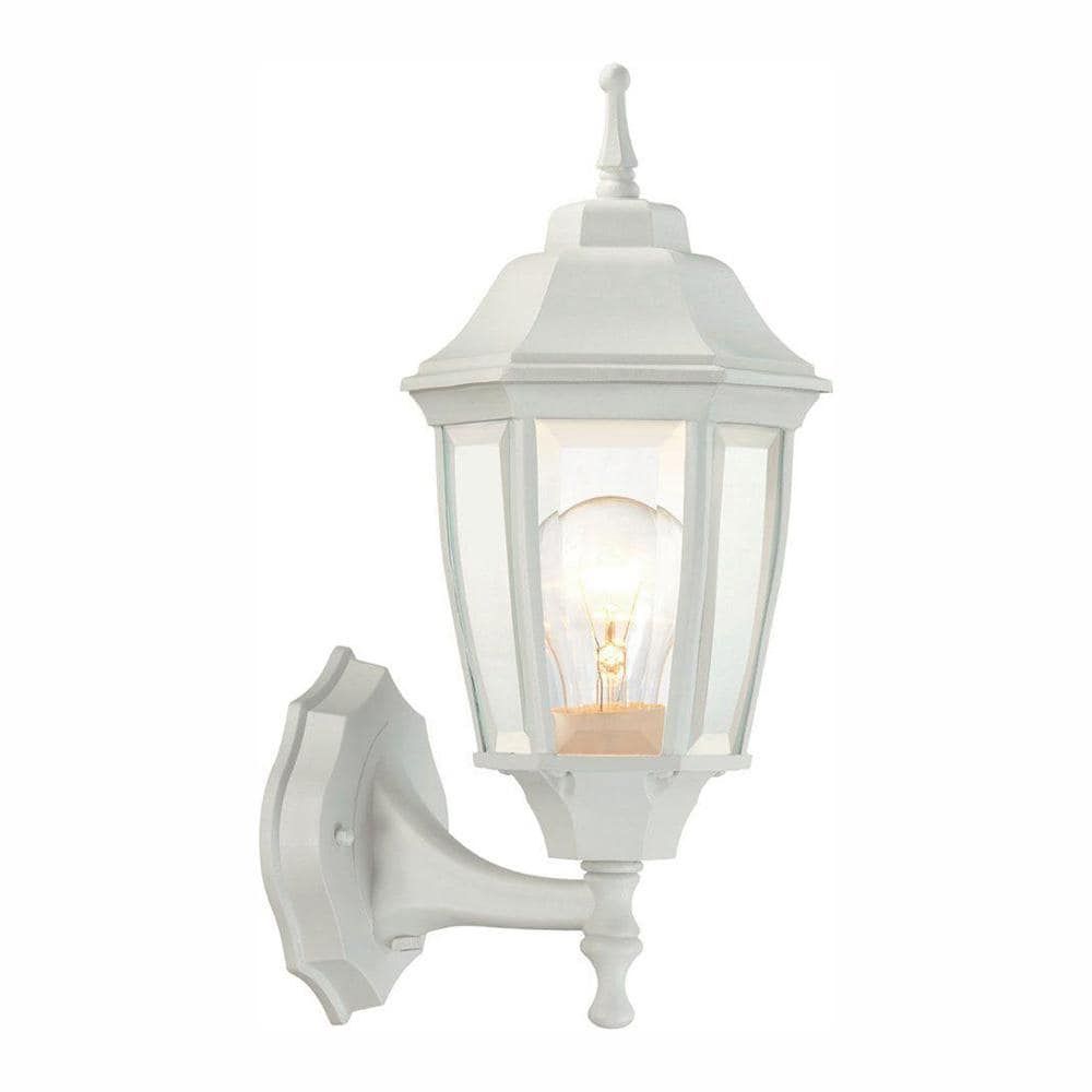 Hampton Bay 1 Light White Outdoor Dusk To Dawn Wall Lantern Sconce Bpp1611 Wht The Home Depot In 2021 White Light Fixture Exterior Light Fixtures Outdoor Light Fixtures Dusk to dawn light fixture