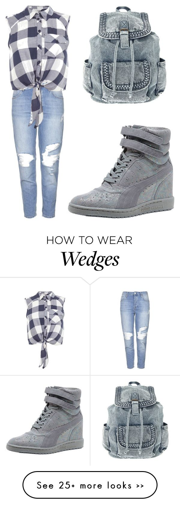 """Gray sneakers❤️"" by fashionyy on Polyvore featuring Topshop, Miss Selfridge and Puma"