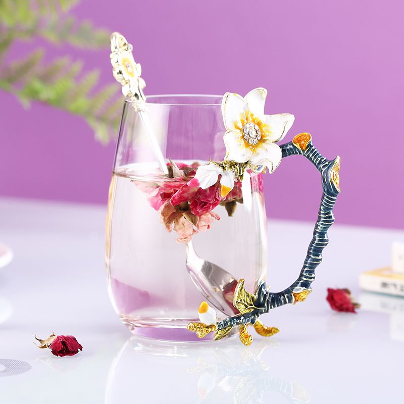 Butterfly roses handmade glass tea and coffee cups with