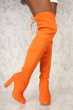 fe4302f04f4 Orange Round Pointy Toe Thigh High Boots Single Sole Chunky Heel Suede  Thigh High Heels