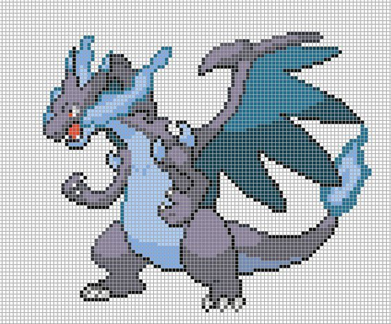 61mcharizard X By Electryonemoongoddes Pixel Art Grid