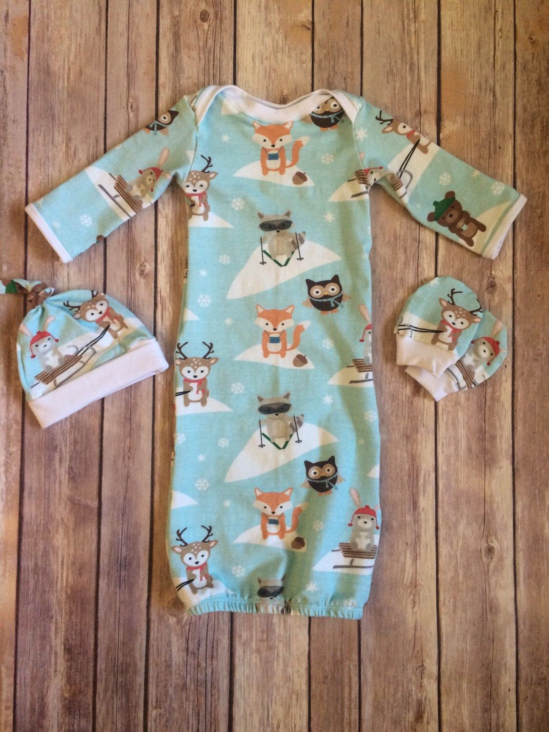 Baby gown, hat and mitten set, newborn outfit, going home set ...