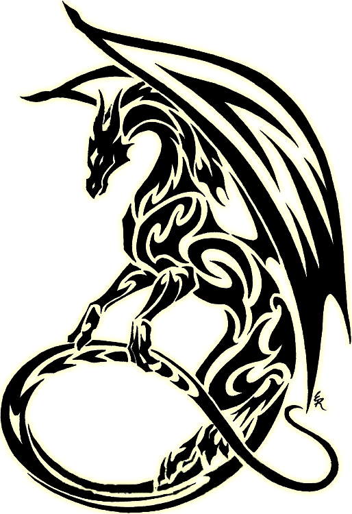 Dragon Clipart Black And White : dragon, clipart, black, white, Download, Clipart, Black, White, Dragon, Symbol, Tribal, Tattoo, Tattoos,, Stencil,, Griffin