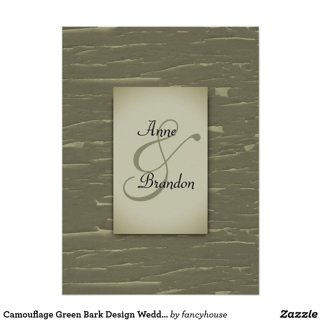 Camouflage Green Bark Design Wedding Invitation Green Weddings