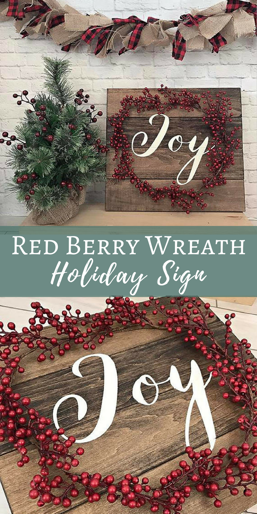 Joy rustic holiday sign | Red Berry Wreath Holiday Sign | Christmas ...