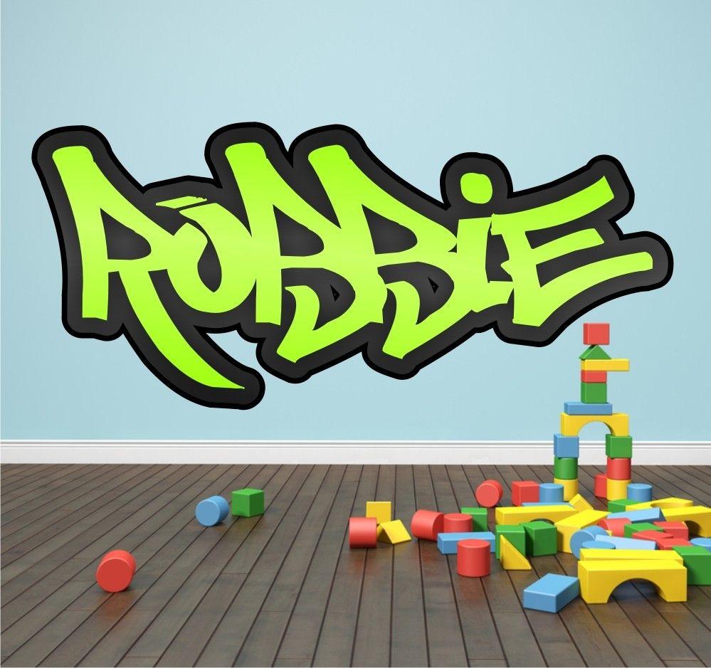 Childrens Personalised Graffiti Wall Sticker Boys//Girls Bedroom art any name!