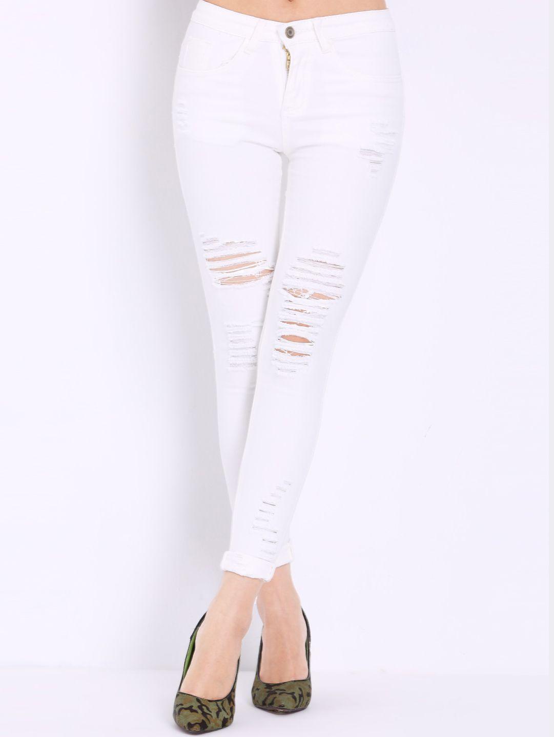 precio loco selección mundial de diseño de moda pantalón+tiro+alto+rotos+denim-blanco+17.15   Pantalones ...