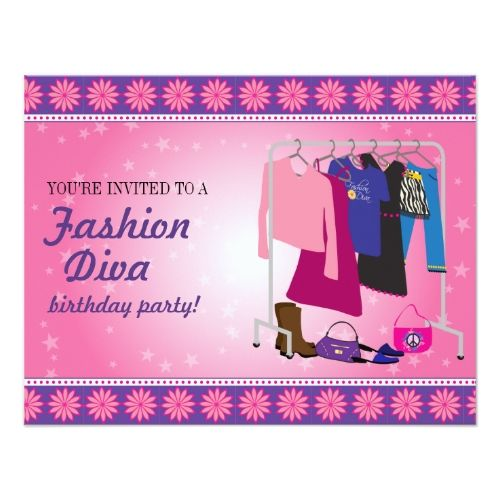 Fashion Diva Birthday Party Card – Diva Party Invitations