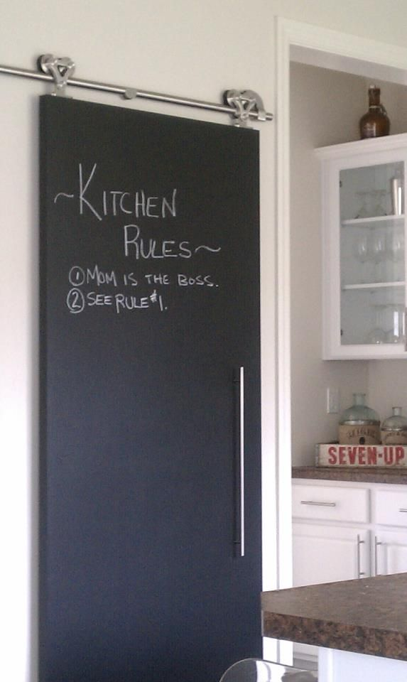 Here S Another Shot Of Our Barn Door In The Kitchen Utilizing The Chalkboard Paint I Love This For 325 For T Barn Door Chalkboard Door Interior Barn Doors