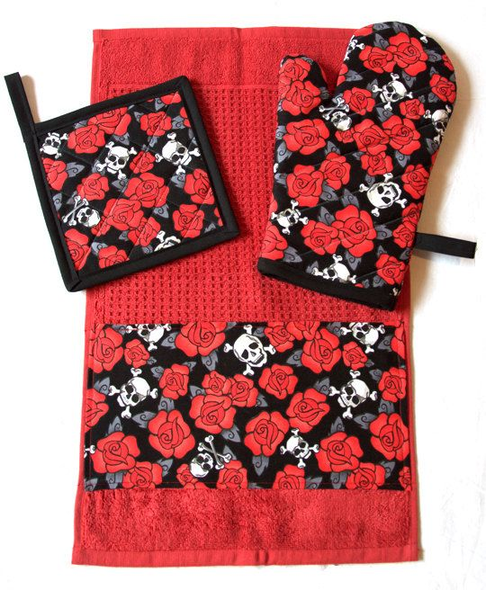 Hey, I found this really awesome Etsy listing at https://www.etsy.com/listing/237302837/skulls-roses-red-kitchen-set-oven-mitt