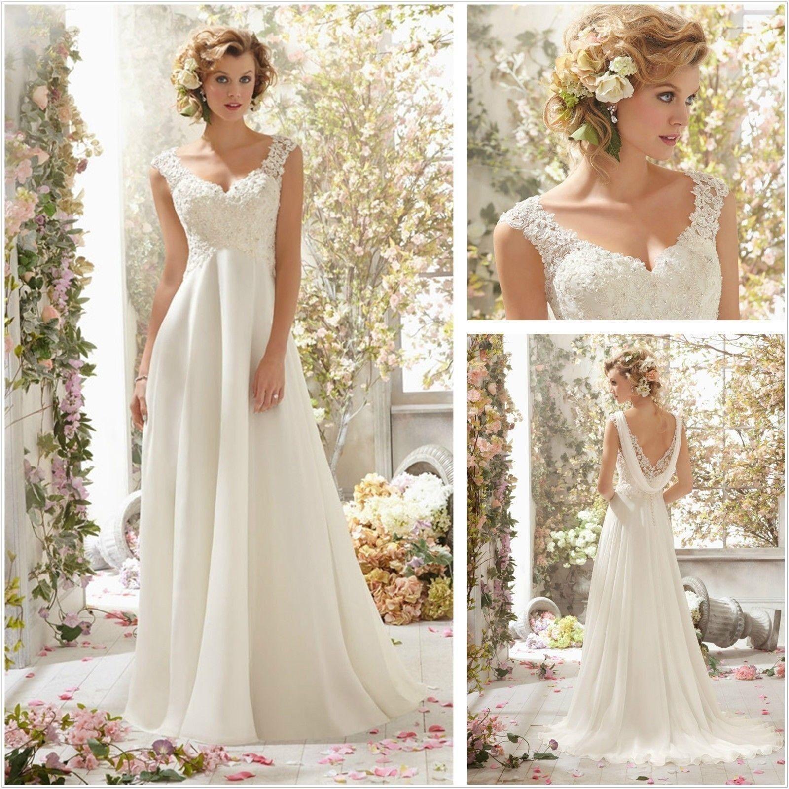 White Ivory Charming New Hot Selling Top Fashion V Neck Chiffon Beach Wedding Dress In
