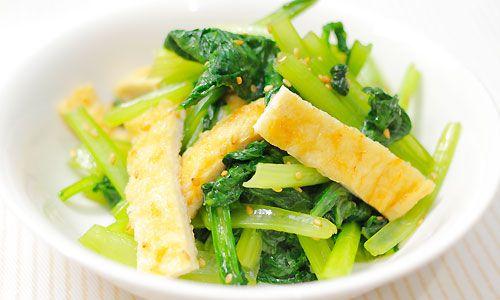小松菜と油揚げのごま炒め|レシピ&グルメノート