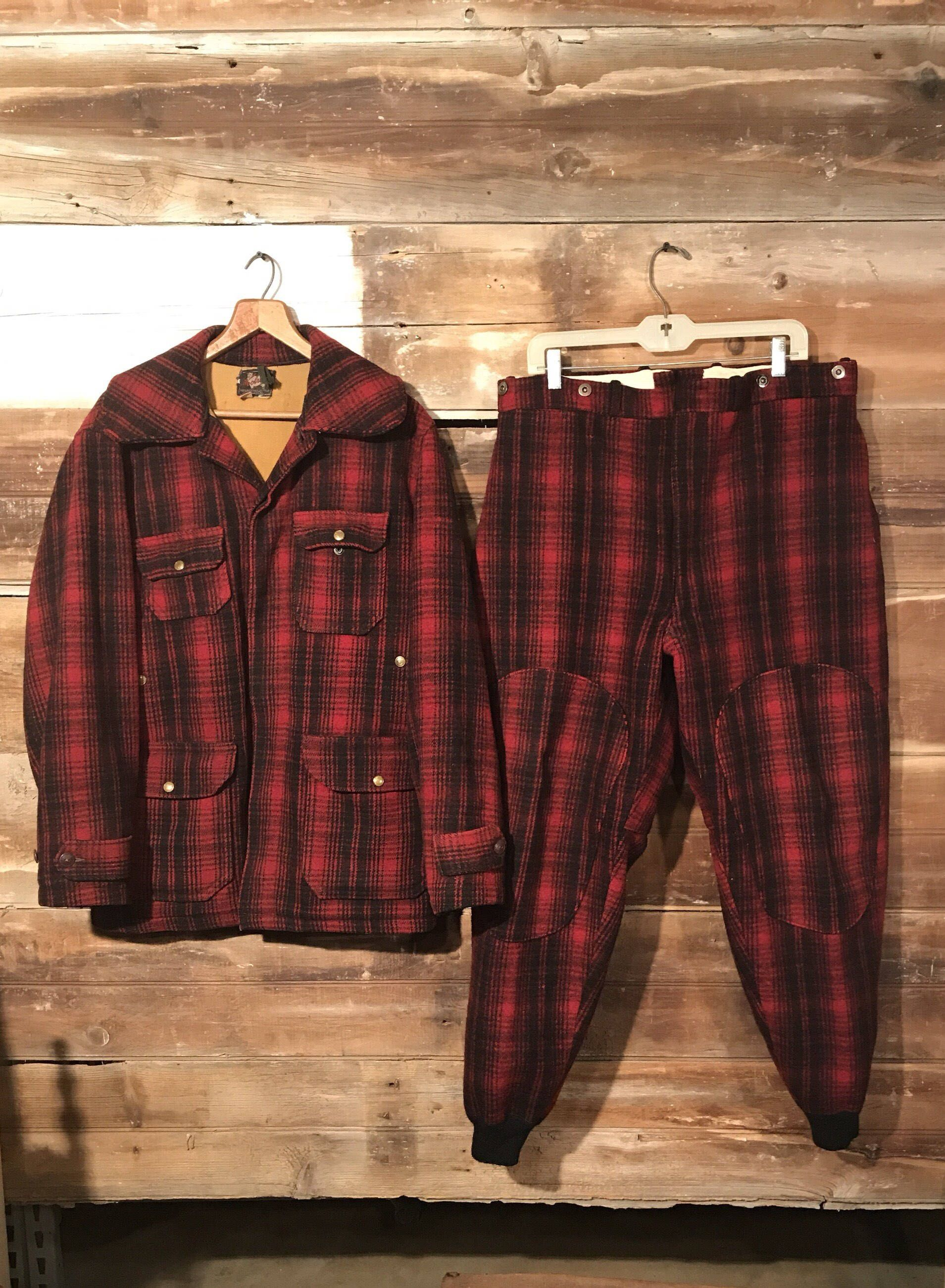 2951d11a44598 Excited to share the latest addition to my #etsy shop: Vintage Tartan Plaid Woolrich  Wool Hunting Coat and Pants * Red and Black Plaid * Vintage Hunting ...