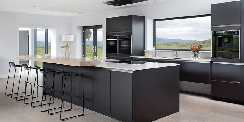 Black Kitchen Design Idea with Kitchen Island Design Idea #kitchens