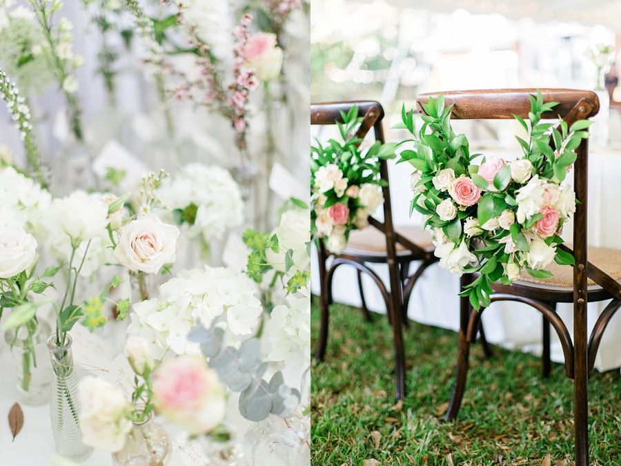 Heart shaped botanicals for bride and groom chairs. Weddings » Jacksonville Wedding Photographers | St. Augustine Wedding Photographers | Amelia Island Wedding Photographers