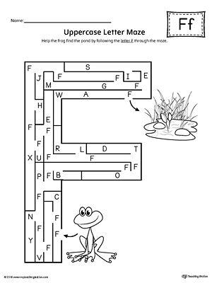uppercase letter f maze worksheet letter maze maze and worksheets. Black Bedroom Furniture Sets. Home Design Ideas