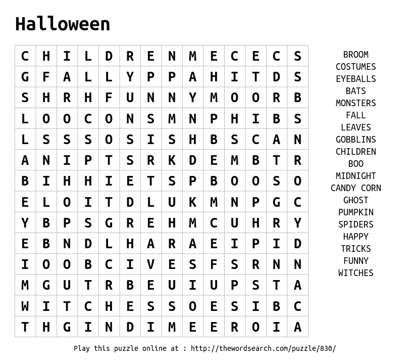 Play word search puzzles on-line, including this one. More at ...
