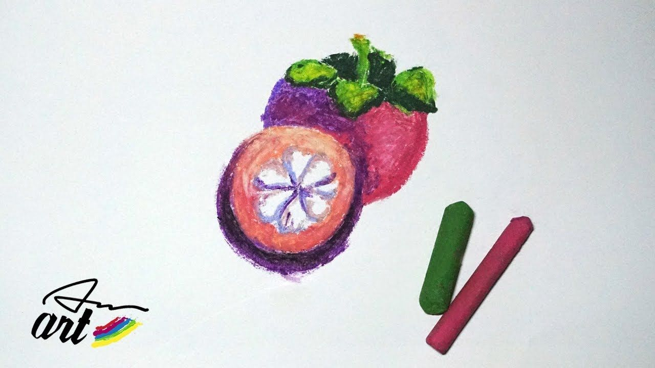 How To Draw Mangosteen With Oil Pastels Anart Pinterest