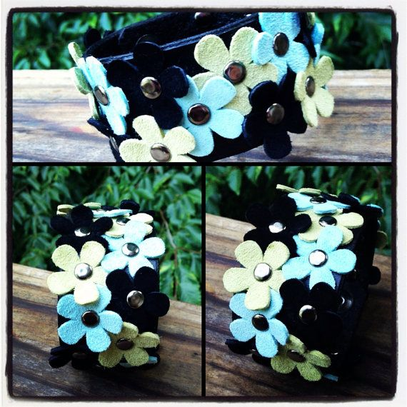 Leather Cuff with Suede Flowers - Blue, Green, Black on Etsy, $25.00