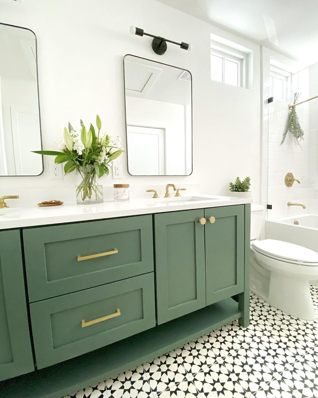 Pin By Ashley Metcalfe On Update House Green Bathroom Furniture Dark Green Bathrooms Green Bathroom Vanity [ 1350 x 1080 Pixel ]
