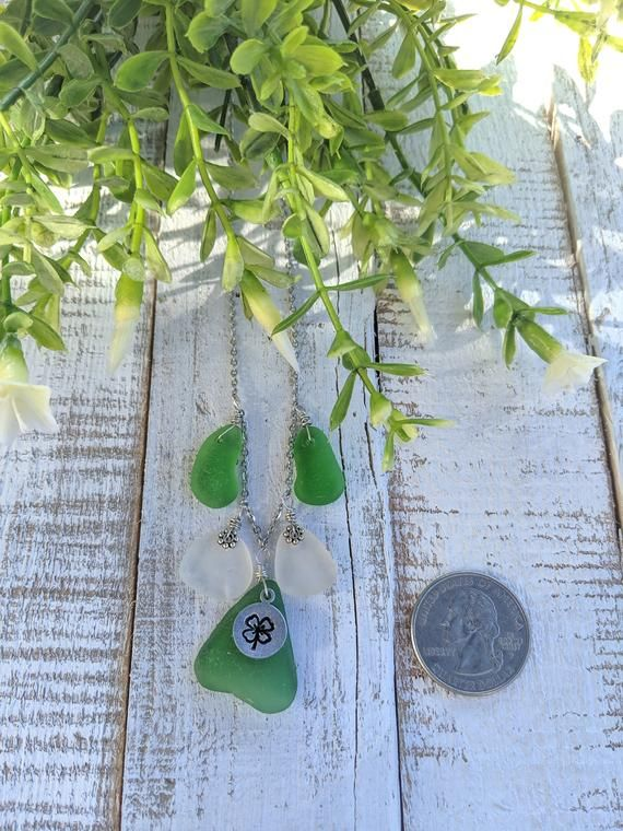 Photo of Shamrock & Sea Glass Necklace/Beach Glass/Genuine Sea Glass/Lake Erie Beach Glass/Shamrock/St. Patty's Day/Gift For Her