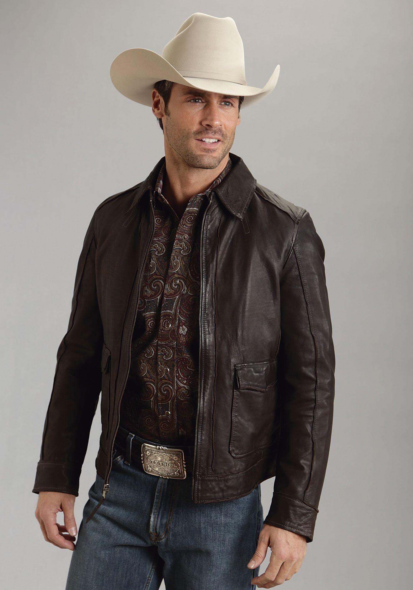 Stetson Mens Brown Butter Soft Leather Jacket Western Zip Front Mens Outerwear Jacket Cowboy Outfit For Men Leather Jacket Men [ 2000 x 1402 Pixel ]