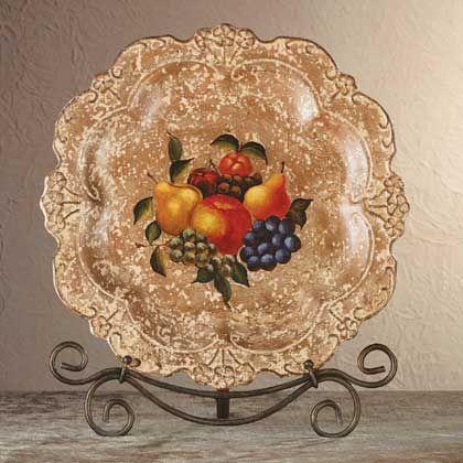 Antique-look fruit design decorative plate & Antique-look fruit design decorative plate | ~ Dinnerware \u0026 China ...