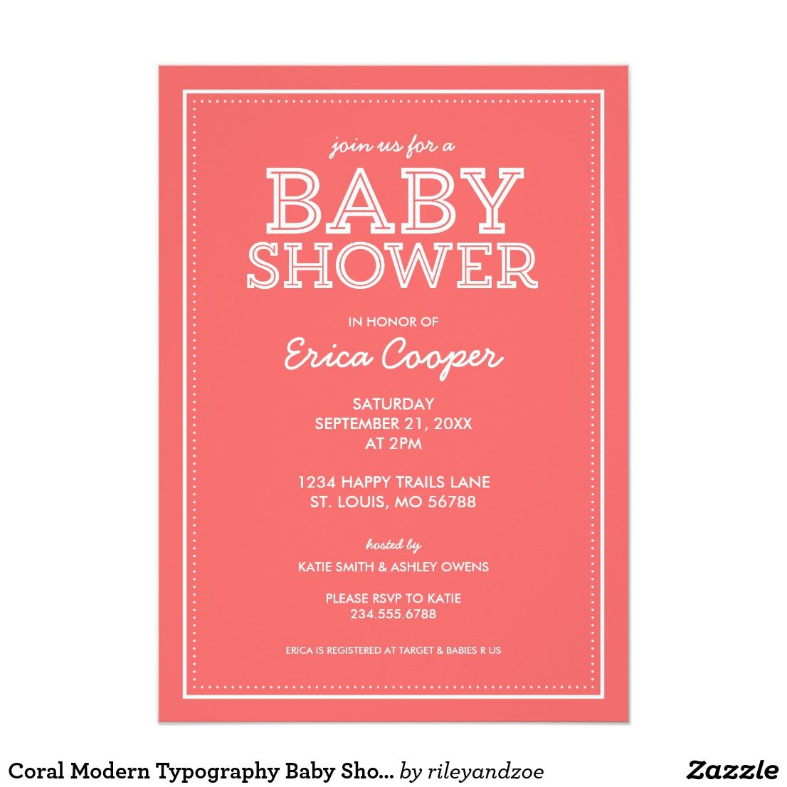 Contemporary modern baby shower invitation gallery resume ideas coral modern typography baby shower card modern typography filmwisefo