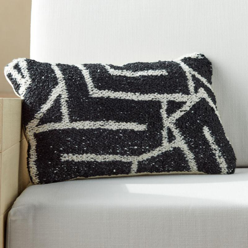 20 X12 Maze Outdoor Black And White Pillow Cb2 In 2020 Black And White Pillows Hand Woven Pillows Blue And White Pillows