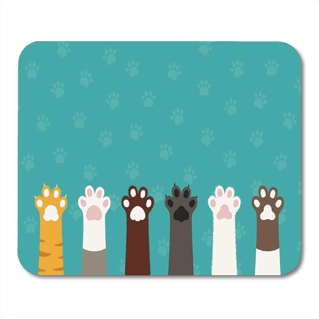 Colorful Pet Cat Paws Legs Dog Kitten Flat Cartoon Cute Foot Funny Mousepad Mouse Pad Mouse Mat 9x10 inch