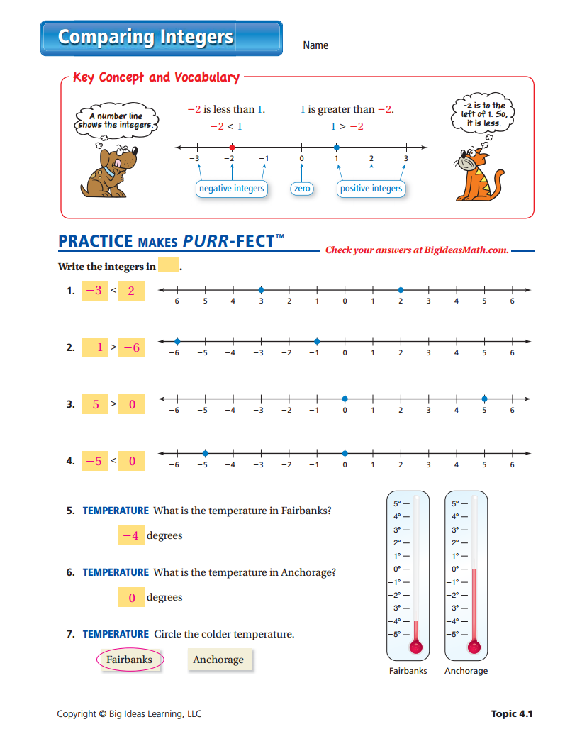Comparing Integers Worksheet  Answers  Integers Middle School